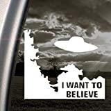 "NI135 X-Files I Want To Believe White Vinyl Decal Sticker | 5.2""t X 6""w"