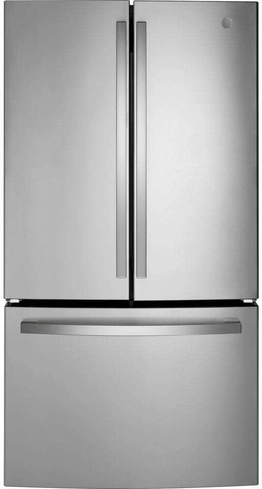 "GE GNE27JYMFS 36"" French Door Refrigerator with 27 cu. ft. Total Capacity Energy Star LED Lighting Internal Water Dispenser Spill-Proof Shelves in Fingerprint Resistant Stainless Steel"