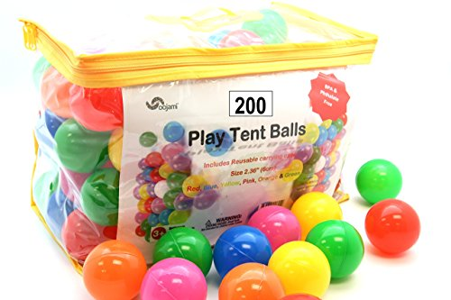 Pack of 200 Phthalate Free BPA Free Crush Proof Plastic Ball, Pit Balls - 6 Bright Colors in Reusable and Durable Storage Bag with Zipper by Oojami -
