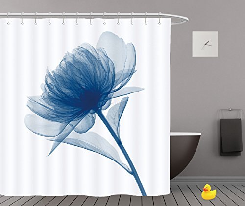 Blue Flickering Flower Modern Blue Memory Tree Abstract Art Oil Painting Bathroom Shower Curtain - Waterproof And Mildewproof Havy-Duty Polyester Fabric Bathroom Curtain Ideas (72