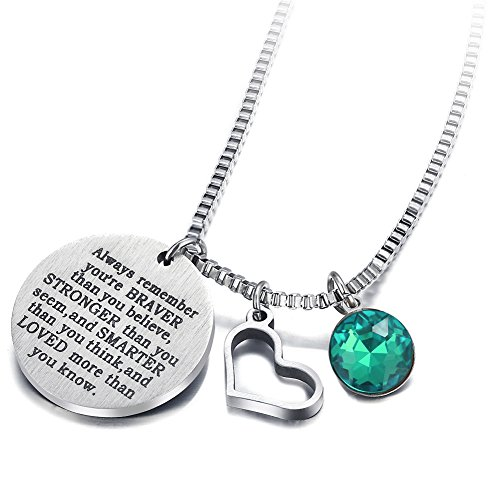 17mile May Birthstone Necklace Stainless Steel Engraved Hypoallergenic Zirconia Heart Necklace Charm for Woman Man Girl Mother ()