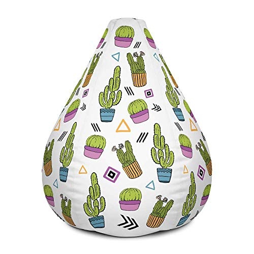 Cactus Design Bean Bag Chair Cover - Stylish and Modern Bean Bag with Vibrant Design (Cover only)