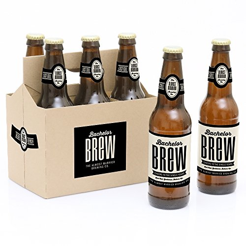 Bachelor Brew - Bachelor Party Decorations for Men - 6 Beer Bottle Label Stickers and 1 Carrier