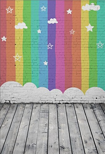 (CSFOTO 4x6ft Background for Colorful Brick Wall Graffiti Photography Backdrop Rainbow Wall Star Cloud Color Striped Wooden Floor Children Kid Baby Portrait Photo Studio Props Polyester Wallpaper)