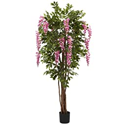 Nearly Natural 5349 Wisteria Silk Tree, 6.5-Feet, Green/Pink