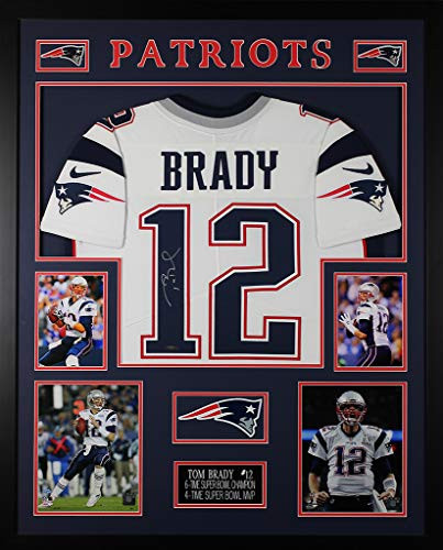 (Tom Brady Autographed White Patriots Jersey - Beautifully Matted and Framed - Hand Signed By Tom Brady and Certified Authentic by Tristar - Includes Certificate of Authenticity)