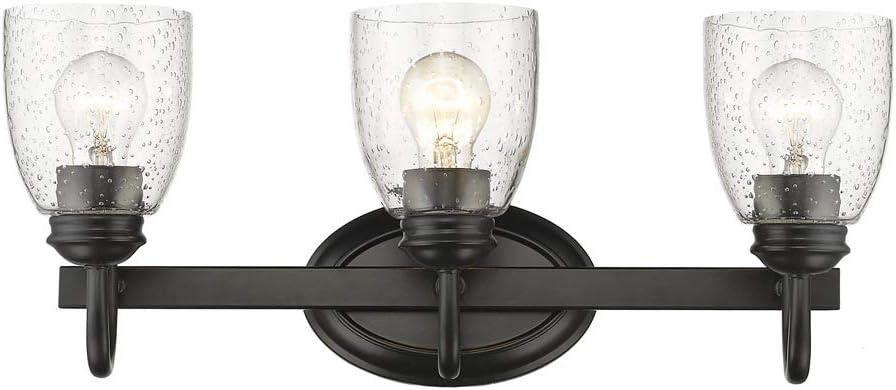 Golden Lighting 8001-BA3 BLK-SD Three Light Bath Vanity, Black