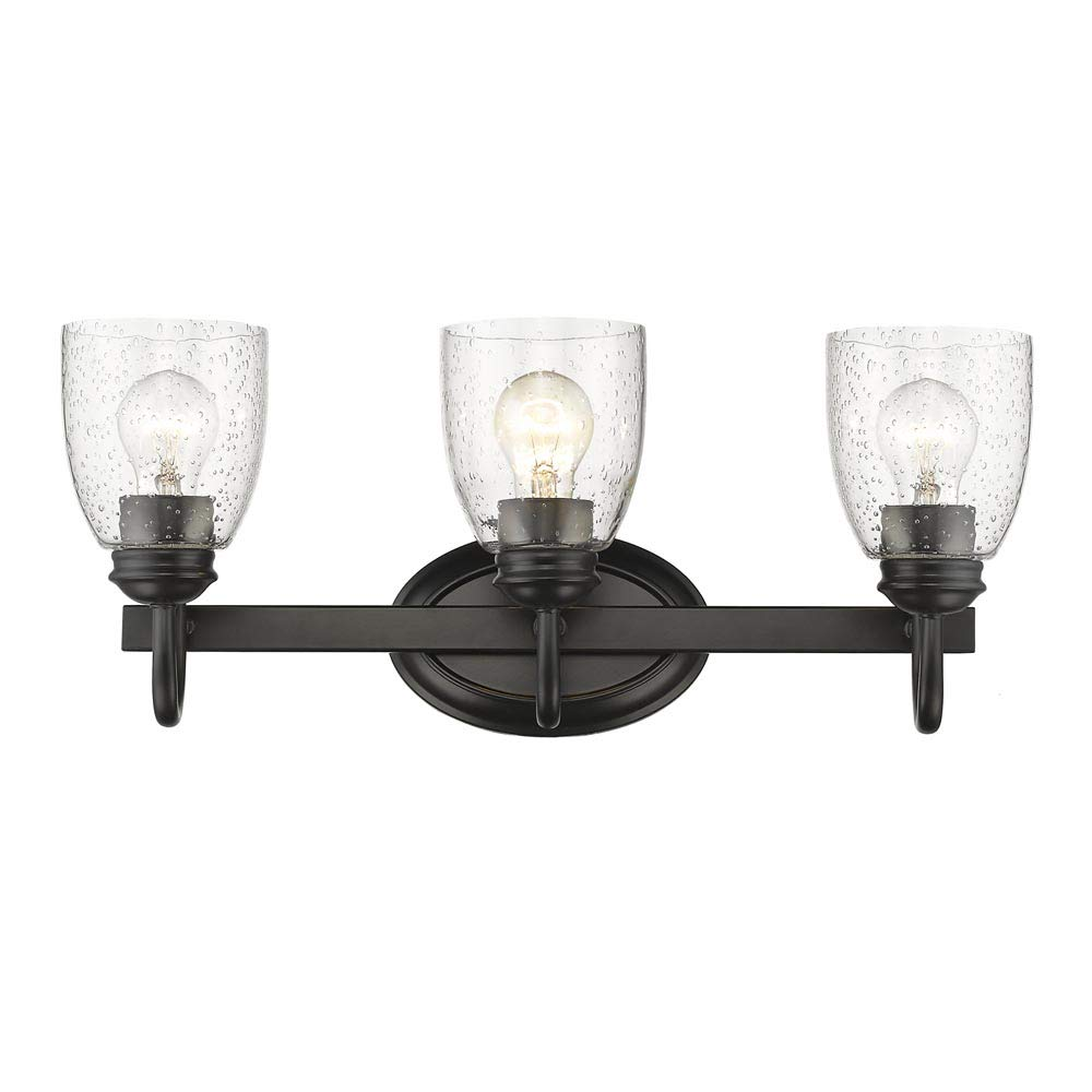 Golden Lighting 8001-BA3 BLK-SD Three Light Bath Vanity, Black