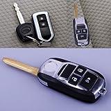 toyota yaris folding key - FlyerShop(TM) 3 BTN Flip Folding Remote Key Fob Case Shell Uncut Blade For Toyota RAV4 Yaris
