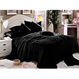 Luxe Soft Faux Fur Black Double King Set Of 6-piece Solid Bedding Set