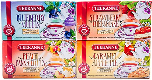 Teekanne Fruit Tea quotSweeteasquot Set of 4  Strawberry Cheesecake Blueberry Muffin Caramel Apple Pie Lemon Cake 4x 405g