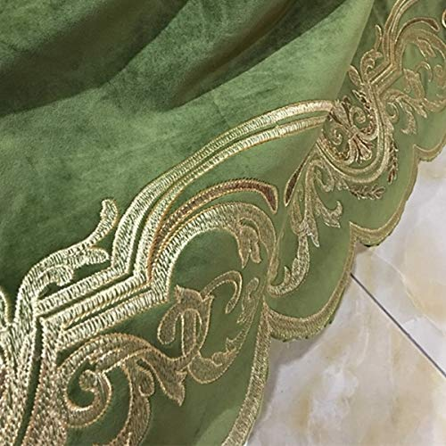Railroaded Upholstery Fabric - Pukido Luxurious Embroidery Velvet Euro Deep Green Drapery Curtain Panels Cloth Upholstery Fabric 280cm Wide Rail-roaded Sell by Repeat - (Color: Deep Green)