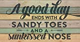 P. GRAHAM DUNN A Good Day Ends Sandy Toes Beach Saying 11 x 20 Wood Pallet Wall Art Sign Plaque