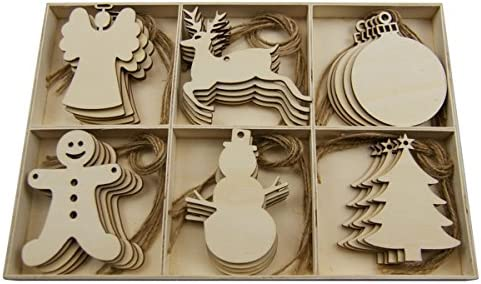 Christmas Wood Crafts.30pcs Christmas Wooden Slices Chips Shaped Embellishments