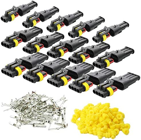 CESFONJER 15 KIT CAR WIRE CONNECTOR, WATERPROOF ELECTRICAL TERMINAL, PLUG FOR AUTO MOTORCYCLE SCOOTER TRUCK MARINE PLUG SOCKET KIT, 2 PIN × 5 KIT, 3 PIN × 5 KIT, 4 PIN × 5 KIT.