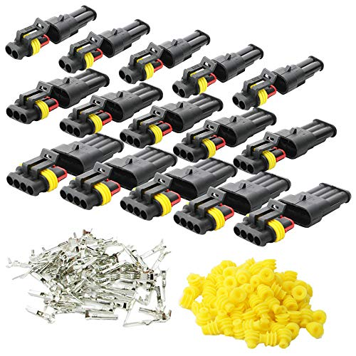 (KINYOOO 15 Kit Car Wire Connector, Waterproof Electrical Terminal, Plug for Auto Motorcycle Scooter Truck Marine Plug Socket Kit, 2 Pin × 5 Kit, 3 Pin × 5 Kit, 4 Pin × 5 Kit.)