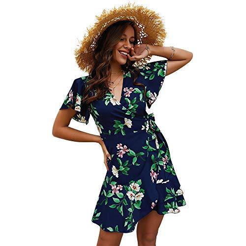 (Exlura Women's Summer Bohemian Floral Printed Wrap V Neck Short Sleeve Ruffle Mini Dress Navy)