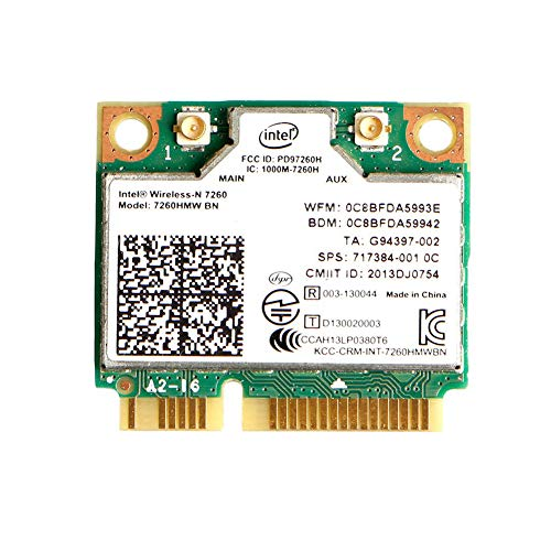 MQUPIN Dual Band Wirless - Intel 7260.HMW Dual Band Wireless-AC 7260 Network Adapter+Bluetooth 4.0 USE for Intel AC Half Mini Pcie Card 802.11 b/a/g/n/ac