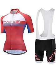 Coconut Ropamo Women's Cycling Jersey Set Short Sleeve Cycling Shirt Road Bike Jersey Bib Shorts with 3D Padded