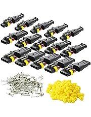 KINYOOO 15 Kit Car Wire Connector, Waterproof Electrical Terminal, Plug for Auto Motorcycle Scooter Truck Marine Plug Socket Kit, 2 Pin × 5 Kit, 3 Pin × 5 Kit, 4 Pin × 5 Kit.