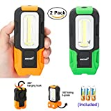 Handheld LED Work Light, High Brightness COB LED Flashlight with Strong Magnetic Base Hanging Hook Battery Included for Outdoor Camping, Fishing, Hiking Emergency (orange green)