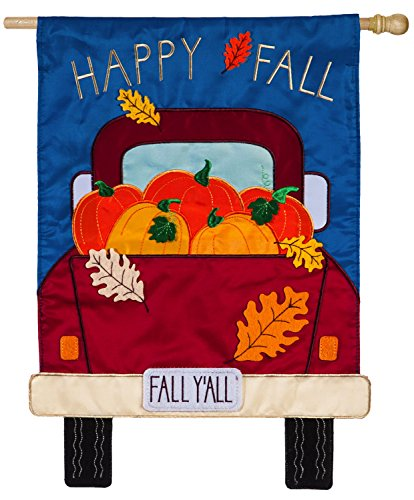 Evergreen Fall Y'all Pickup Truck Applique House Flag, 28 x 44 - Flag 44 Decorative