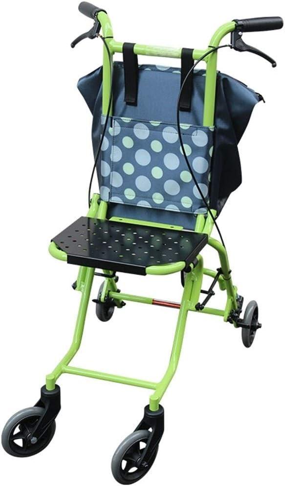 4347555031 Caminante Cuidados De Rehabilitación con Freno Aleación De Aluminio Andador Accesible para Niños Mayores Silla De Ruedas Ligera Y Plegable (Color : B, Size : 28 * 60 * 88cm)