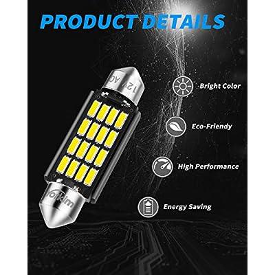 Yorkim Super Bright 578 Festoon LED Bulb White 41mm 42mm LED Bulb Canbus Error Free 16-SMD 4014 Chipset, 212-2 Dome Light Led MAP Light, LED Interior Light 211-2 LED Bulb, Pack of 4: Automotive