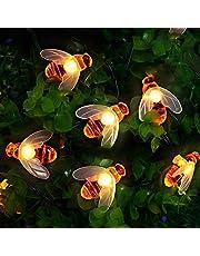 Lichtsnoer op zonne-energie, voor buiten, bijen, lichtketting, 50 leds, 7 m, 8 modi, waterdicht, voor binnen en buiten, voor tuin, bomen, terras, Kerstmis, bruiloften, feesten (warmwit)