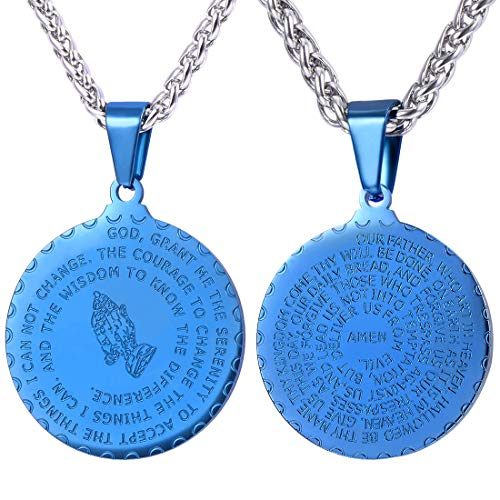 (U7 Ion-Plating Blue Metal Praying Hands Bible Verse Prayer Necklace with Stainless Steel Chain 26