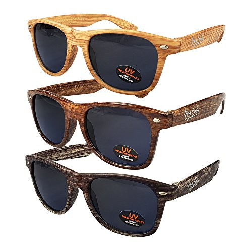 Wayfarer Sunglasses for Men, Women & Kids by Ray Solée- 3 Pack of Tinted Lenses with UVA & UVB Protection (Light Woodgrain,Woodgrain,Dark Woodgrain, Black) by Ray Solée