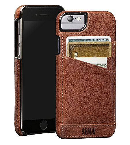 T, Leather Wrapped Card holder snap on case for the iPhone 6 & iPhone 7 - Cognac (Sena Leather Iphone Cases)