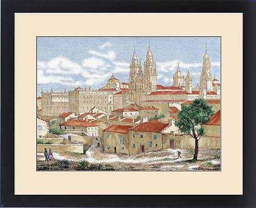 Framed Print of Spain. Galicia. Santiago de Compostela. Partial view of the city with the by Fine Art Storehouse