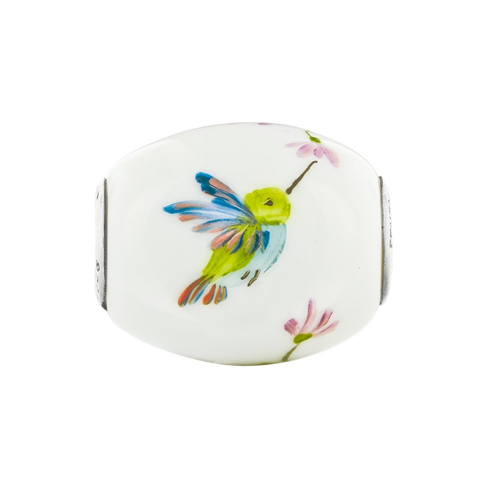 Jewel Tie 925 Sterling Silver Reflections Hand Painted Hummingbird Fenton Glass Bead