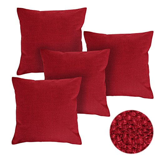 Deconovo Decorative Throw Pillow Case Christmas Cushion Covers Faux Linen Pillow Cover Sets of 4 18X18 Inches Red