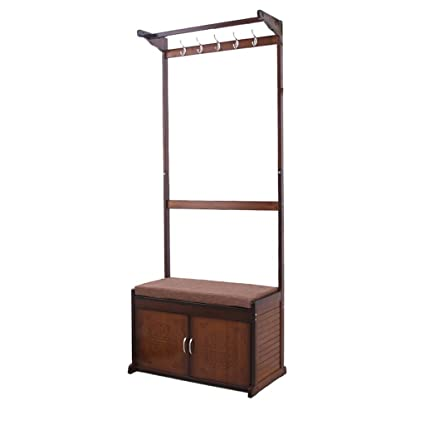 bb4c5bf4283 Image Unavailable. Image not available for. Color  Bamboo Coat Rack  Multifunction Storage Floor Coat Bench Change Shoe Bench Shoe Rack Hall Clothes  Hanger