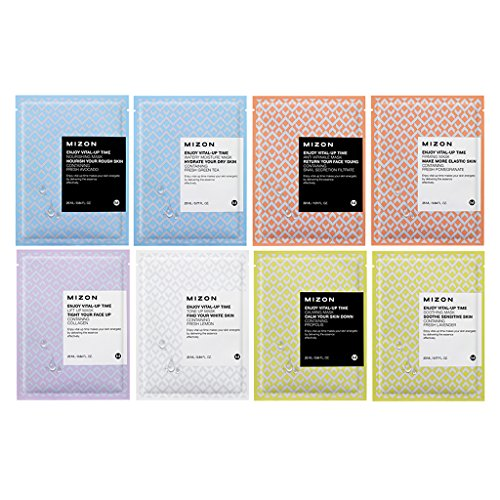 [MIZON] Enjoy Vital-Up Time Mask Sheet Variety Set Pack of 8 (Best Budget Sheet Masks)