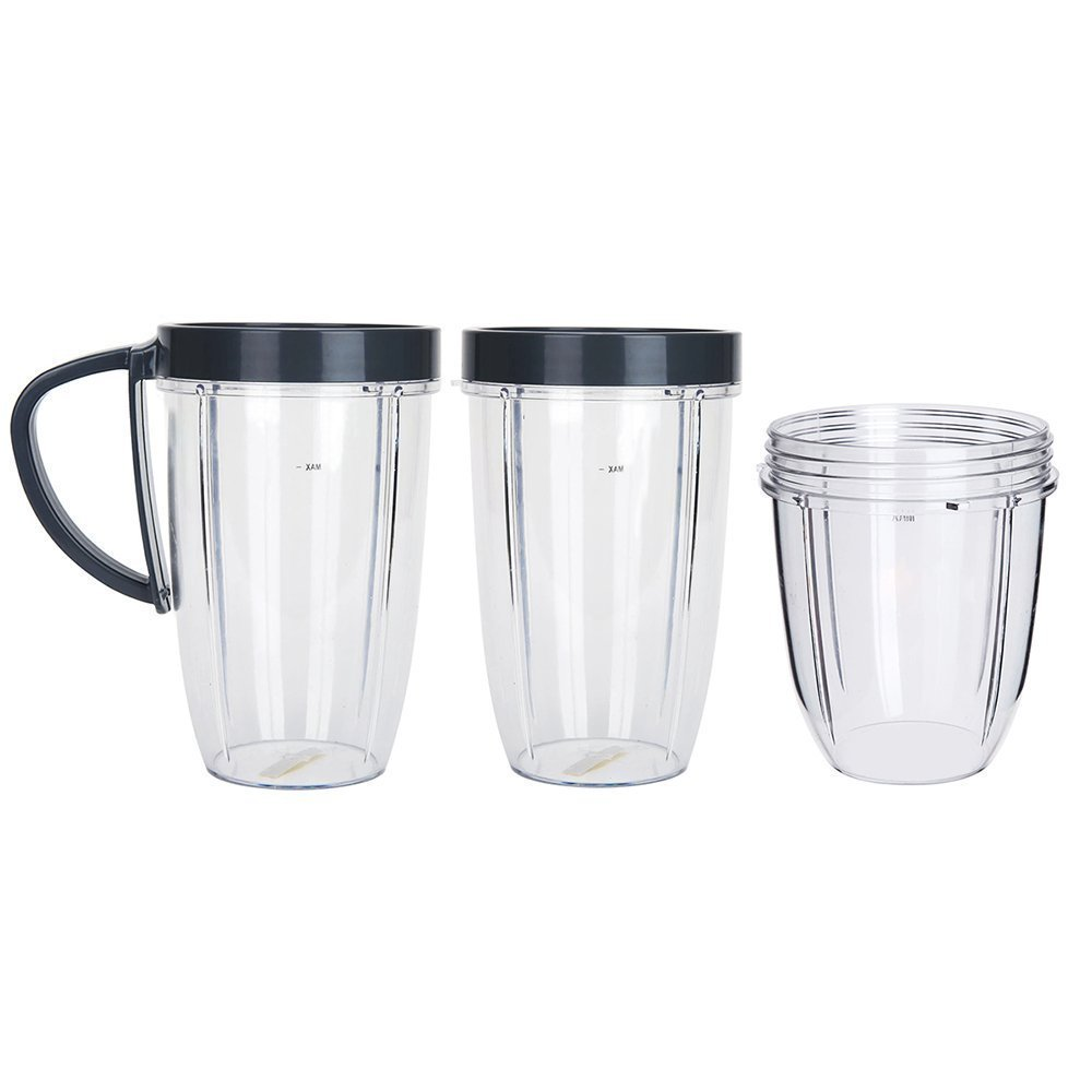 5PCS/Set Replacement Part Mug Cup for Nutri Bullet Blender Juicer Mixer Part Accessory - TWO 24OZ Tall Cups + ONE 18OZ Short Cups + ONE Screw Handle + One Lip Ring