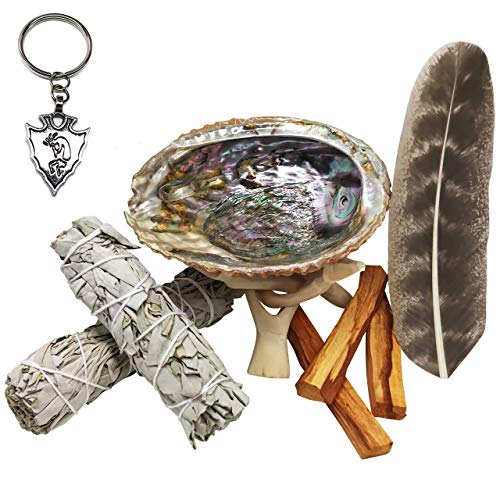 Cleansing Kits - Smudge Kit - Sage, Palo Santo, Abalone Shell, Tripod, Feather & Free Gift!! Healing, Smudging, Cleansing, Purifying, Stress Relief