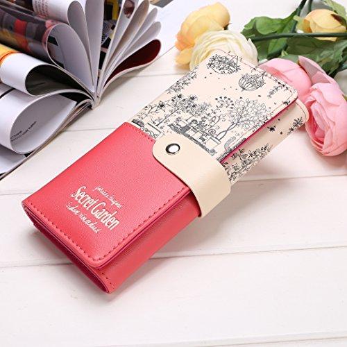 Cartera de mujer de largo-todo damas imprimir patchwork bifold largo monedero monedero de la tarjeta (negro) Rojo