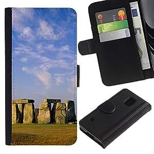 JackGot ( Architettura Stongehenge antica isola orientale ) Samsung Galaxy S5 V SM-G900 la tarjeta de Crédito Slots PU Funda de cuero Monedero caso cubierta de piel