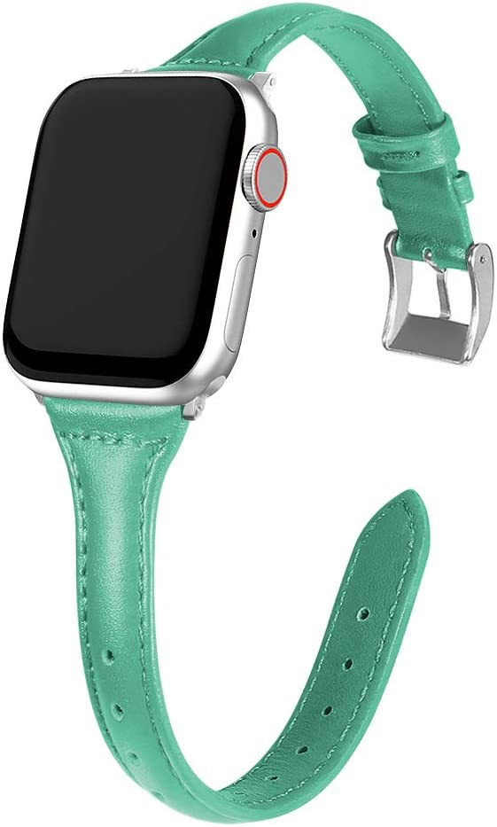 MARGE PLUS Compatible Apple Watch Band 38mm 40mm Women, Slim Genuine Leather Watch Strap Replacement for iWatch SE Series 6 5 4 3 2 1, (Mint Green Band paired with Sliver Adapter)