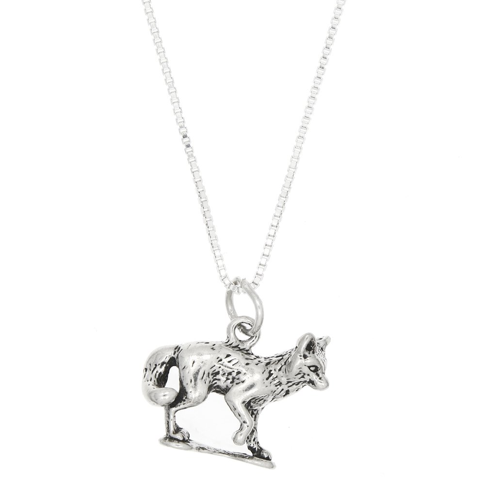 Sterling Silver Three Dimensional Fox Necklace