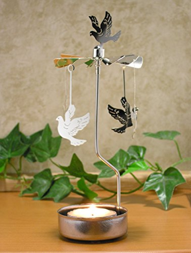 Rotating Dove Candle Holder - Silver Doves Spin Around a Tealight Candle - (Brass Angel Candle Holder)