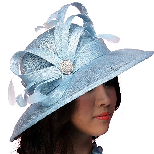 June's Young Women Hat Summer Sun Hat Sinamay Feather Ribbons Wide Brim Light Blue