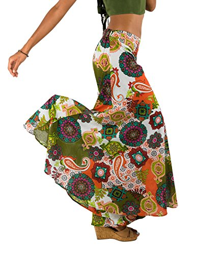 Tropic Bliss Women's Palazzo Pant Multicolored (XX-Large, Orange)]()