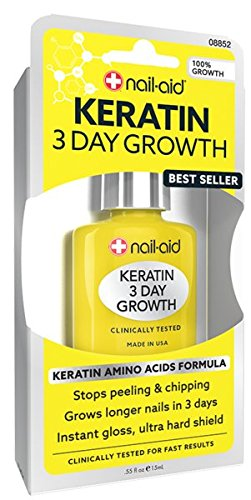 NAIL-AID Keratin 3 Day Growth, Clear, 0.55 Fluid Ounce - Nail Growth Treatment