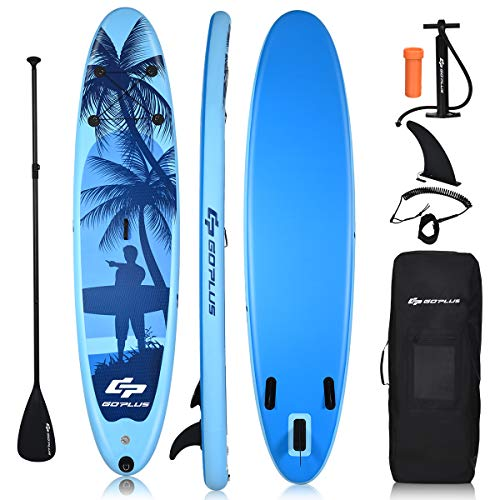 COSTWAY Inflatable Stand Up Paddle Board, 16cm Thick SUP with Accessories, Carry Bag, Adjustable Paddle, Hand Pump…