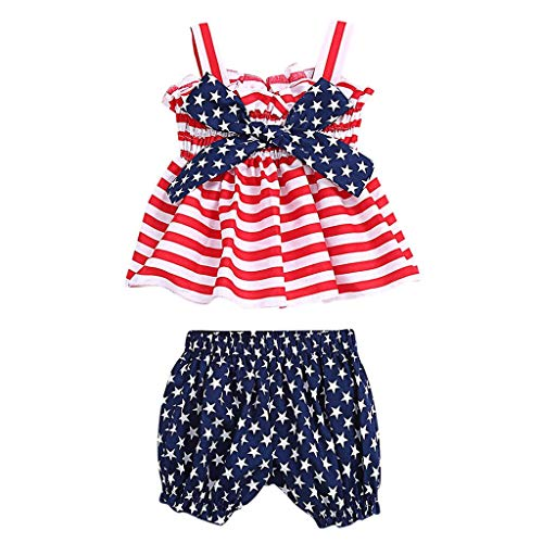 Baby Girl Clothes Outfits,Baby Girs USA Flag Ruffled Strap Striped Tops Star Bloomer Shorts for July of 4th ()