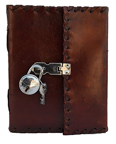 Genuine Leather Handmade Secret Leather Notebook Journal Diary Book with Actual Lock and Key for Girls, Poets, Writer Artists Nice Gift for Teenagers Retro Vintage Classic Leather Bound Notebook - Books Handmade Artist